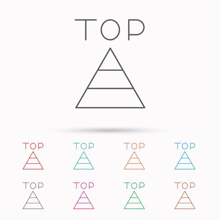 best result: Triangle icon. Top or best result sign. Success symbol. Linear icons on white background.