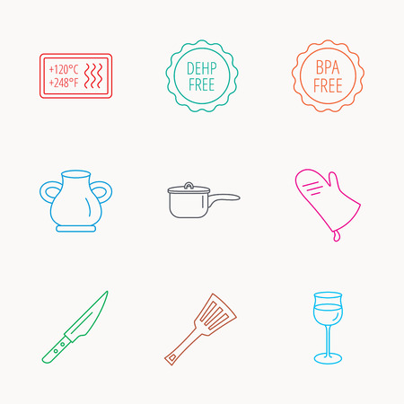 bpa: Saucepan, potholder and wineglass icons. Kitchen knife, utensils and vase linear signs. Heat-resistant, BPA, DEHP free icons. Linear colored icons.
