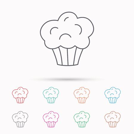 Muffin icon. Cupcake dessert sign. Bakery sweet food symbol. Linear icons on white background.