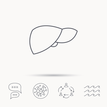 liver failure: Liver icon. Transplantation organ sign. Medical hepathology symbol. Global connect network, ocean wave and chat dialog icons. Teamwork symbol. Illustration