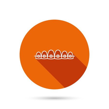Dental braces icon. Teeth healthcare sign. Orthodontic symbol. Round orange web button with shadow.