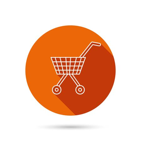dealings: Shopping cart icon. Market buying sign. Round orange web button with shadow.