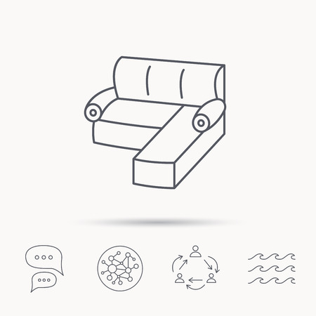 chat room: Corner sofa icon. Comfortable couch sign. Furniture symbol. Global connect network, ocean wave and chat dialog icons. Teamwork symbol.