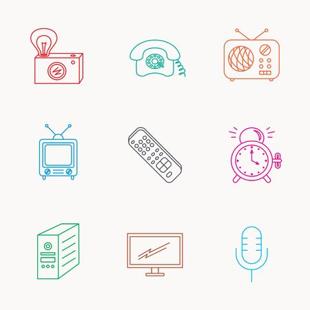 pc case: Retro camera, radio and phone call icons. Monitor, PC case and microphone linear signs. TV remote, alarm clock icons. Linear colored icons.