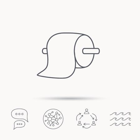 icona di carta igienica. WC igiene segno. rete di connessione globale, onde dell'oceano e chat icone di dialogo. simbolo lavoro di squadra.