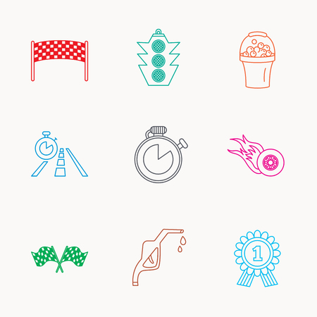 race winner: Race flags and speed icons. Winner medal, checkpoint and traffic lights linear signs. Timer and petrol station flat line icons. Linear colored icons.