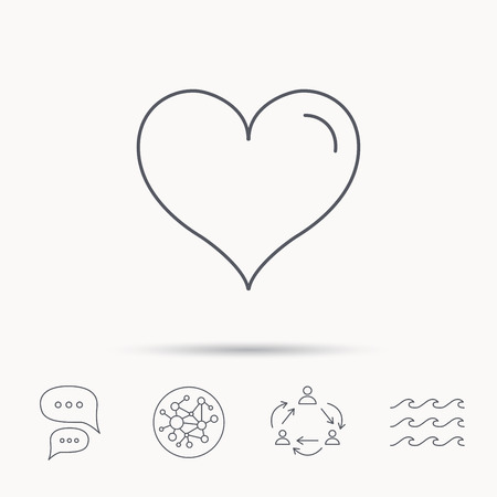 february 1: Love heart icon. Life sign. Global connect network, ocean wave and chat dialog icons. Teamwork symbol. Illustration