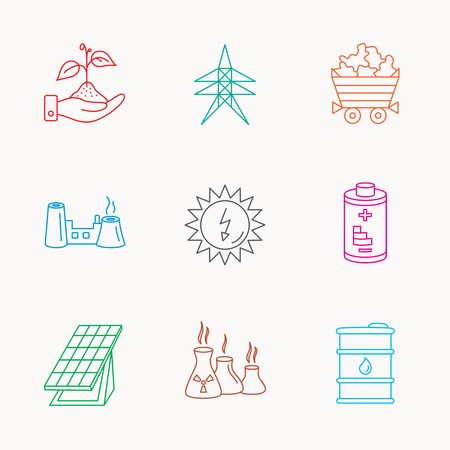 Solar collector energy, battery and oil barrel icons. Minerals, electricity station and factory linear signs. Industries, save nature icons. Linear colored icons.