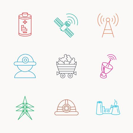 factory worker: Worker, minerals and engineering helm icons. GPS satellite, electricity station and factory linear signs. Telecommunication, battery icons. Linear colored icons.