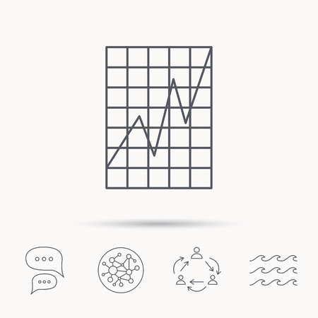 demand: Chart curve icon. Graph diagram sign. Demand growth symbol. Global connect network, ocean wave and chat dialog icons. Teamwork symbol. Illustration