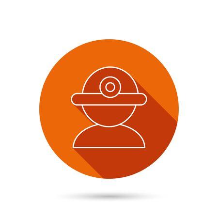 industrialist: Worker icon. Engineering helmet sign. Round orange web button with shadow. Illustration
