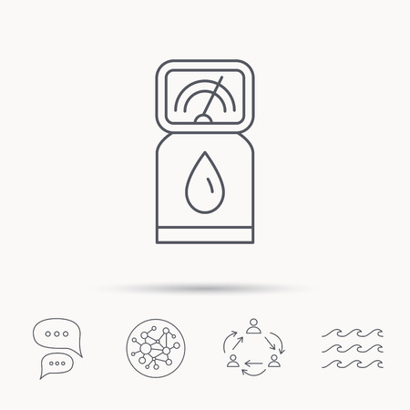 fuel pump: Gas station icon. Petrol fuel pump sign. Global connect network, ocean wave and chat dialog icons. Teamwork symbol.