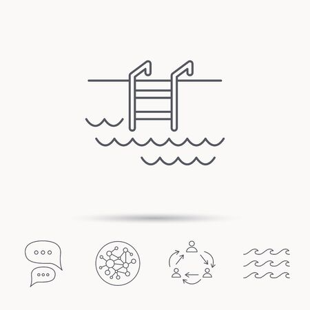 pool symbol: Swimming pool icon. Waves and stairs sign. Global connect network, ocean wave and chat dialog icons. Teamwork symbol.
