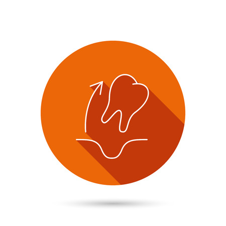 anesthesia: Tooth extraction icon. Dental paradontosis sign. Round orange web button with shadow.