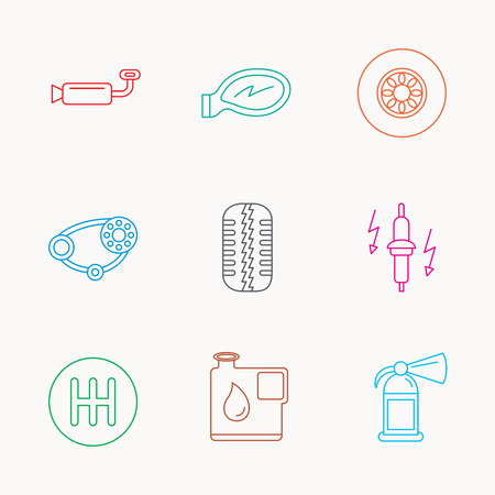 timing belt: Wheel, car mirror and timing belt icons. Fire extinguisher, jerrycan and manual gearbox linear signs. Muffler, spark plug icons. Linear colored icons.