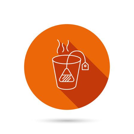 ceylon: Tea bag icon. Natural hot drink sign. Breakfast beverage symbol. Round orange web button with shadow.