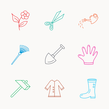 Scissors, hammer and gloves icons. Shovel, watering can and rake linear signs. Cloak, boots and flower flat line icons. Linear colored icons. Illustration