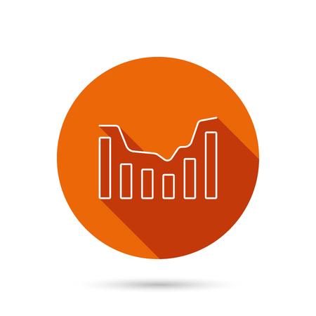infochart: Dynamics icon. Statistic chart sign. Growth infochart symbol. Round orange web button with shadow.