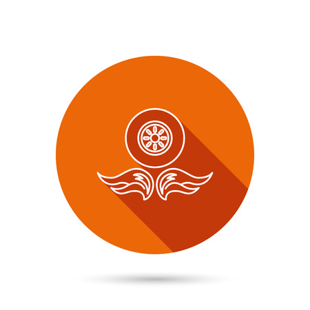 car navigation: Car wheel icon. Fire flame symbol. Round orange web button with shadow.