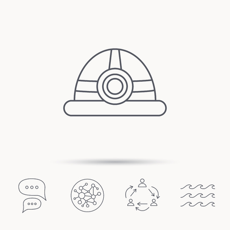 industrialist: Engineering icon. Engineer or worker helmet sign. Global connect network, ocean wave and chat dialog icons. Teamwork symbol.