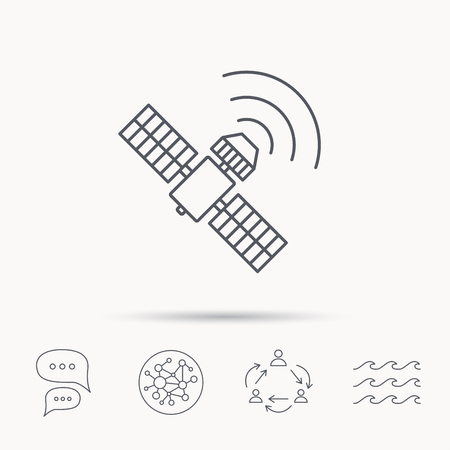 satellite navigation: GPS icon. Satellite navigation sign. Global connect network, ocean wave and chat dialog icons. Teamwork symbol. Illustration