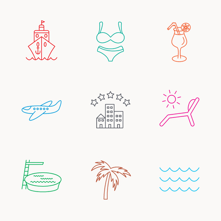 hotel pool: Cruise, waves and cocktail icons. Hotel, palm tree and swimming pool linear signs. Airplane, deck chair and lingerie flat line icons. Linear colored icons. Illustration