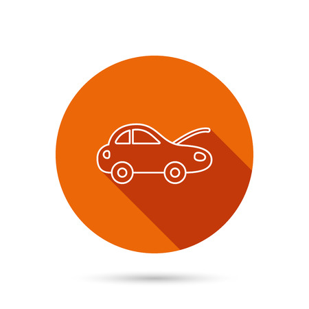 overhaul: Car repair icon. Mechanic service sign. Round orange web button with shadow.