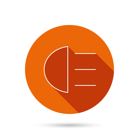 high beams: High beams icon. Distant light car sign. Round orange web button with shadow.