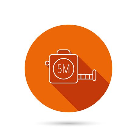 measurement tape: Tape measurement icon. Roll ruler sign. Round orange web button with shadow.