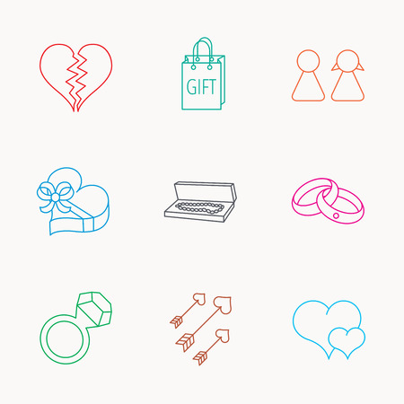 amour: Love heart, gift box and wedding rings icons. Broken heart and couple linear signs. Valentine amour arrows flat line icons. Linear colored icons.