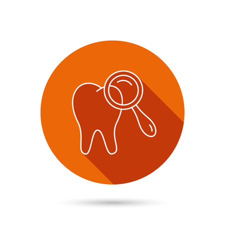long recovery: Dental diagnostic icon. Tooth hygiene sign. Round orange web button with shadow.