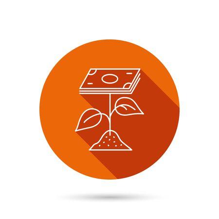 Profit-Symbol. Geldsparungen unterzeichnen. Blume mit Bargeld Symbol. Runde orange Web Button mit Schatten. Vektorgrafik