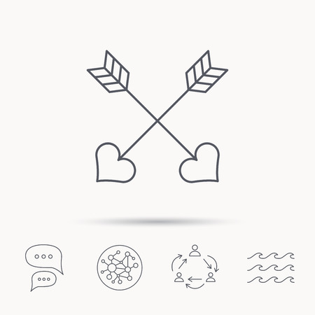 darts flying: Love arrows icon. Amour equipment sign. Archer weapon with hearts symbol. Global connect network, ocean wave and chat dialog icons. Teamwork symbol. Illustration