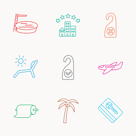 5 door: Hotel, swimming pool and beach deck chair icons. E-key, do not disturb and clean room linear signs. Paper towels, palm tree and airplane icons. Linear colored icons. Illustration