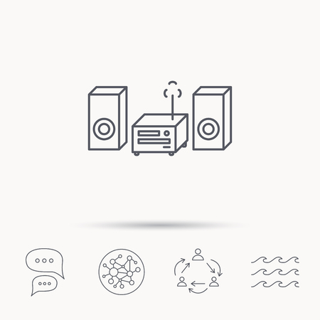 cd recorder: Music center icon. Stereo system sign. Global connect network, ocean wave and chat dialog icons. Teamwork symbol. Illustration