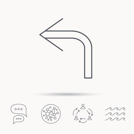 Girar icono de flecha hacia la izquierda. signo anterior. Volver símbolo de dirección. la red de conexión global, las olas del océano y los iconos de diálogo de la charla. símbolo de trabajo en equipo.