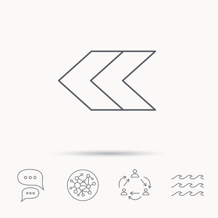 global direction: Left arrow icon. Previous sign. Back direction symbol. Global connect network, ocean wave and chat dialog icons. Teamwork symbol. Illustration