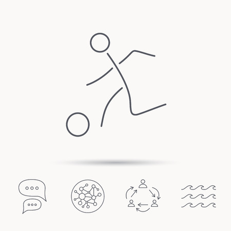 soccer goal: Football icon. Soccer sport sign. Team goal game symbol. Global connect network, ocean wave and chat dialog icons. Teamwork symbol. Illustration