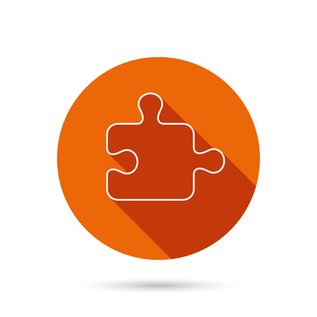 logical: Puzzle icon. Jigsaw logical game sign. Boardgame piece symbol. Round orange web button with shadow.