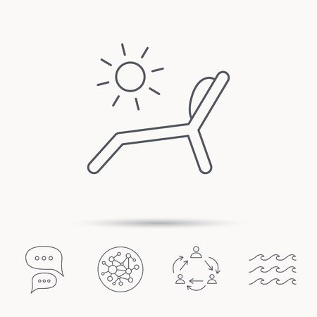 longue: Deck chair icon. Beach chaise longue sign. Global connect network, ocean wave and chat dialog icons. Teamwork symbol.