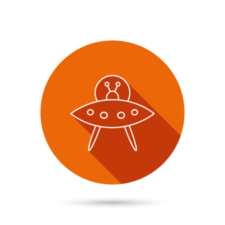 martians: UFO icon. Unknown flying object sign. Martians symbol. Round orange web button with shadow.
