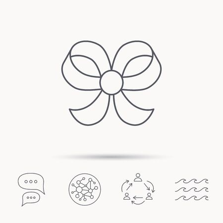 bowknot: Bow icon. Gift bow-knot sign. Global connect network, ocean wave and chat dialog icons. Teamwork symbol.