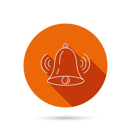 handbell: Ringing bell icon. Sound sign. Alarm handbell symbol. Round orange web button with shadow.