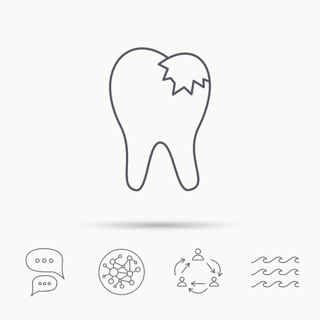fillings: Dental fillings icon. Tooth restoration sign. Global connect network, ocean wave and chat dialog icons. Teamwork symbol. Illustration
