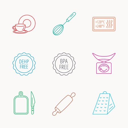 Kitchen scales, whisk and grater icons. Rolling pin, board and knife linear signs. Food and drink, BPA, DEHP free icons. Linear colored icons.
