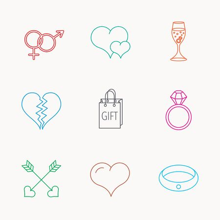 shopping champagne: Love heart, gift box and wedding ring icons. Broken heart and engagement linear signs. Valentine amour arrows, brilliant flat line icons. Linear colored icons.