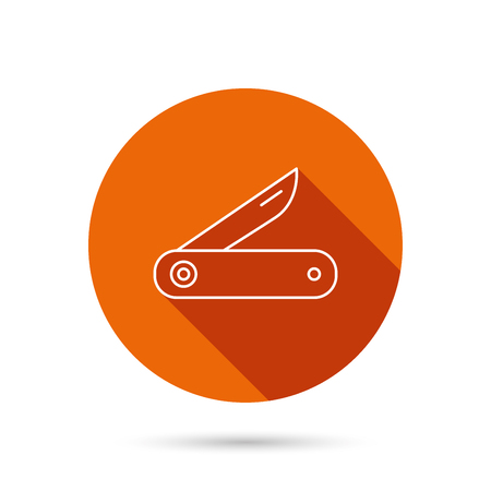 knive: Multitool knife icon. Multifunction tool sign. Hiking equipment symbol. Round orange web button with shadow.