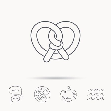 crusty: Pretzel icon. Bakery food sign. Traditional bavaria snack symbol. Global connect network, ocean wave and chat dialog icons. Teamwork symbol.