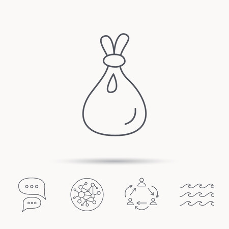 packaged: Burlap sack icon. Textile bag sign symbol. Global connect network, ocean wave and chat dialog icons. Teamwork symbol.