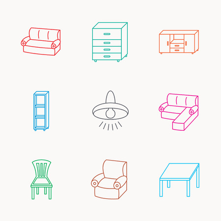 shelving: Corner sofa, table and armchair icons. Chair, ceiling lamp and chest of drawers linear signs. Shelving, furniture flat line icons. Linear colored icons. Illustration